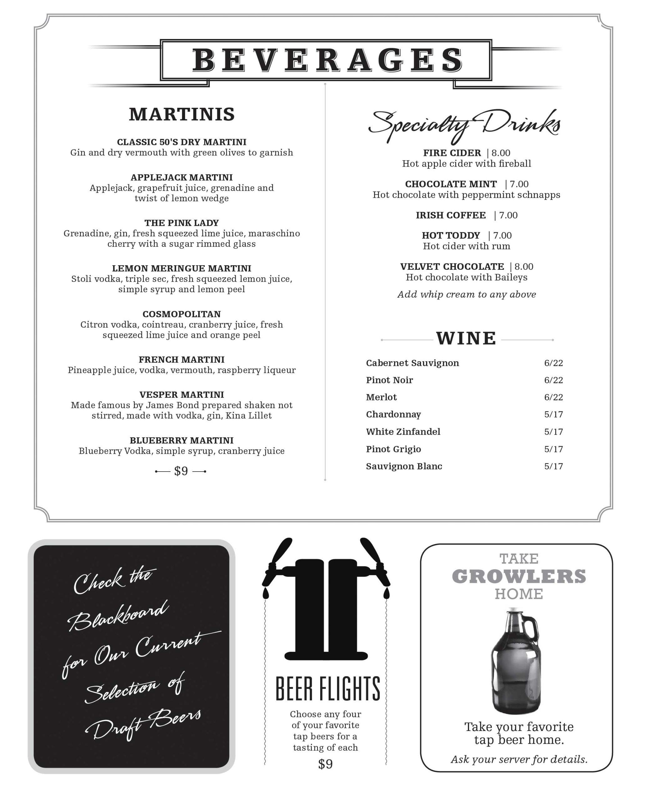 JDs Pub Brew Beverages, Martinis, Cocktails, Beer on Tap, Bottles, Wine